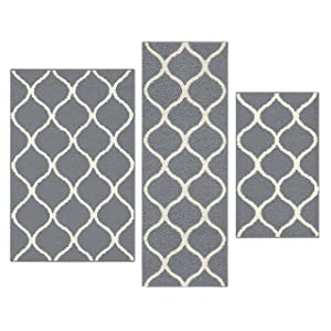 Maples Rugs Kitchen Rug Set - Rebecca [3pc Set] Non Kid Accent Throw Rugs Runner [Made in USA] for Entryway and Bedroom, Grey/White