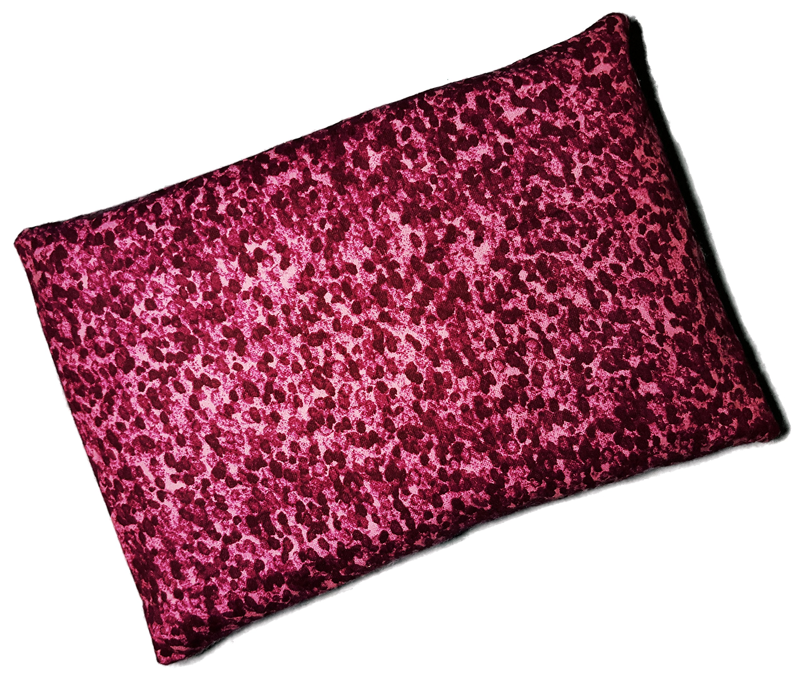 Microwavable Corn Filled Heating Pad and Cold Pack / Washable 100% Cotton Cover (7.5''Wx11''L, Watercolor Dot - Berry)