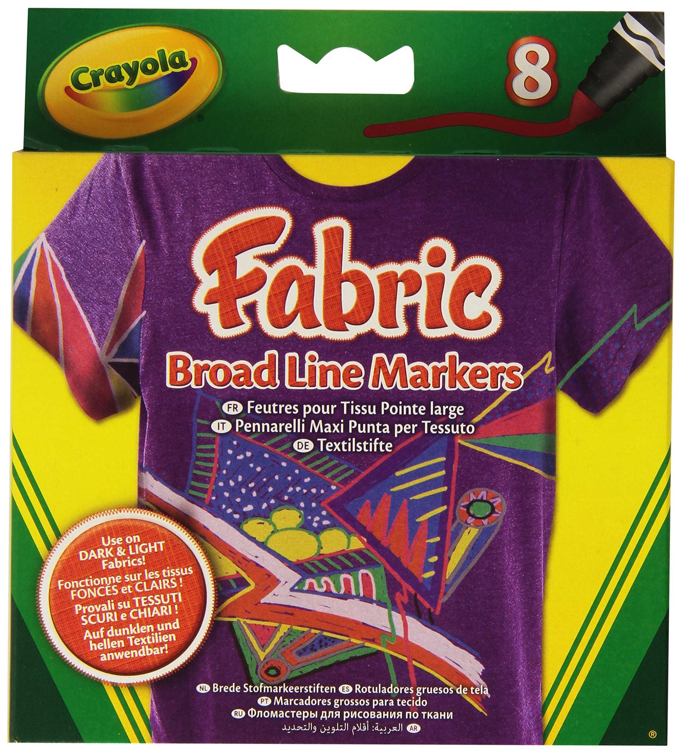 Crayola BroadLine Fabric Markers, 8 Count (Replacing 58-8176) by Crayola