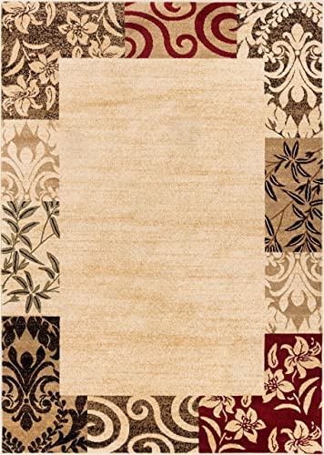 Well Woven Barclay Vane Willow Damask Beige Modern Area Rug 7 10 X 9 10