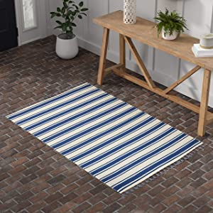 "Stone & Beam Los Altos Striped Dhurrie Farmhouse Area Rug, 4' x 6' 6"", Navy and Ivory"