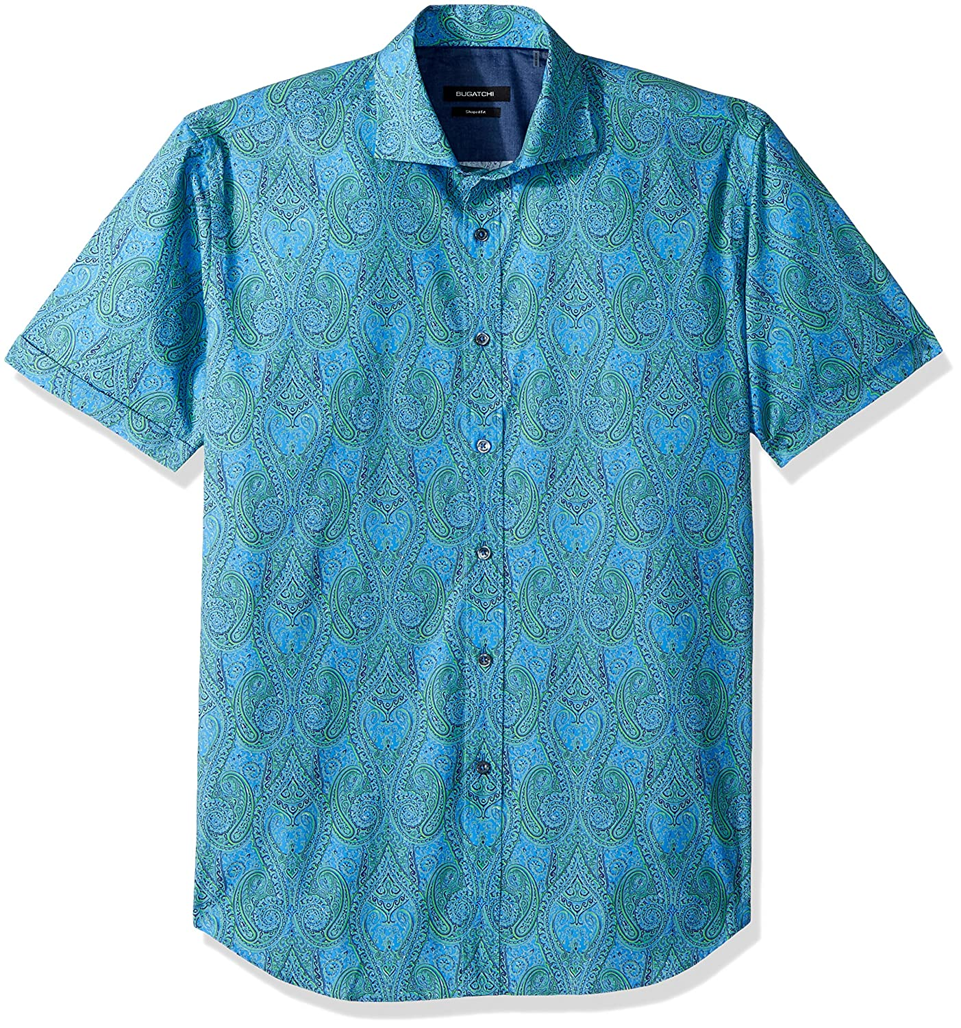 Bugatchi Mens Fitted Blue and Green Paisley One Piece Spread Collar Shirt