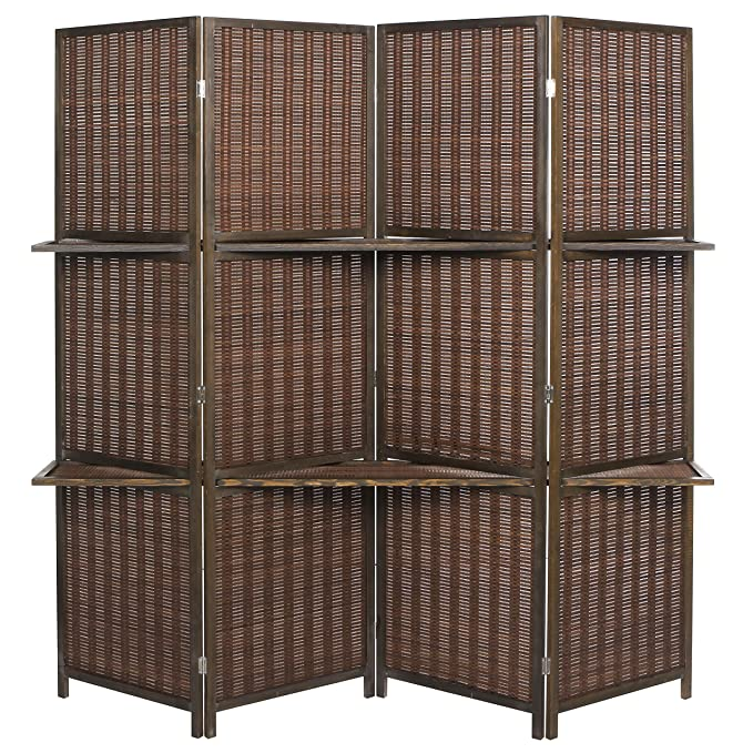 MyGift Deluxe Woven Brown Bamboo 4 Panel Folding Room Divider Screen w//Removable Storage Shelves