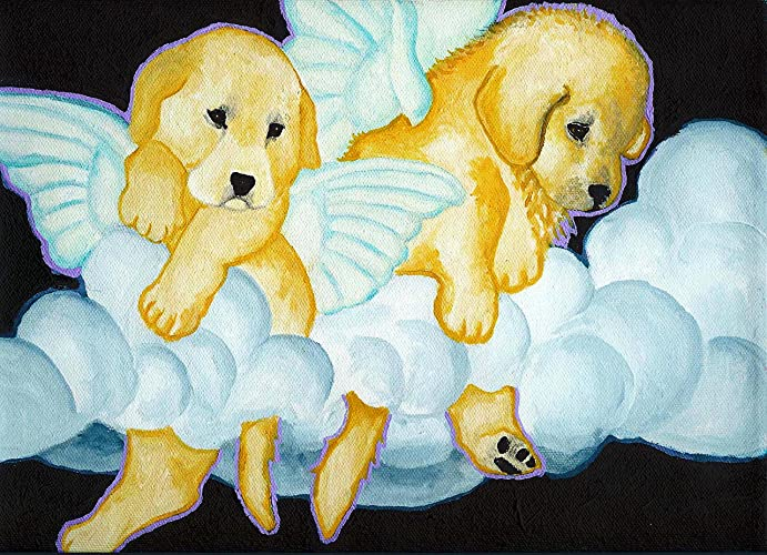 Amazoncom Golden Retriever Angel Puppies Signed Art Print Of
