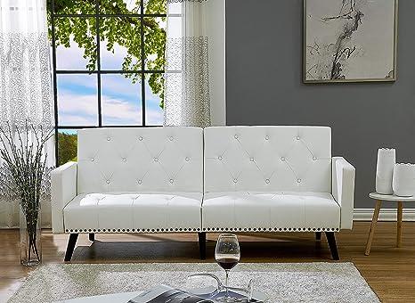 promo code 98701 13681 Naomi Home Convertible Tufted Futon Sofa Faux Leather/White