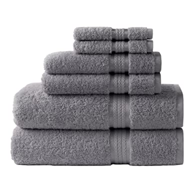 Cotton Craft Ultra Soft 6 Piece Towel Set Charcoal, Luxurious 100% Ringspun Cotton, Heavy Weight & Absorbent, Rayon Trim - 2 Oversized Large Bath Towels 30x54, 2 Hand Towels 16x28, 2 Wash Cloths 12x12