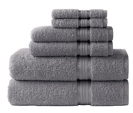 cotton craft ultra soft 6 piece towel set charcoal luxurious 100 ringspun cotton