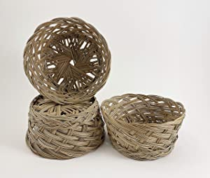 CalCastle Round Gift Baskets, Woven Bread Roll Baskets, Food Serving Baskets, Natural Coco Midrib Material (7