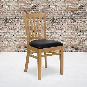 Flash Furniture 2 Pk. HERCULES Series Vertical Slat Back Natural Wood Restaurant Chair - Black Vinyl Seat