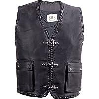 Gaudi-Leathers Chaleco Vest de Cuero para Hombre Moto