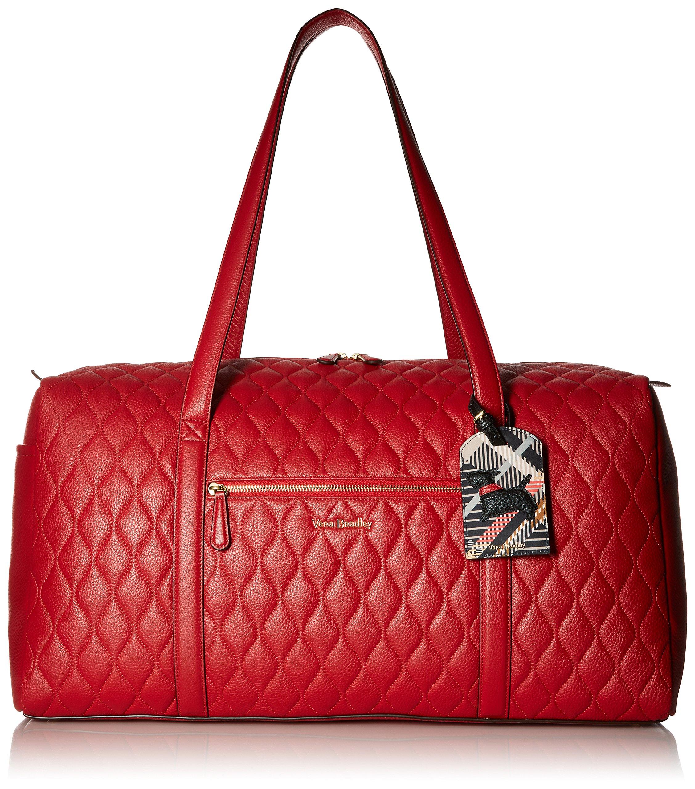 Women's Large Duffel, Leather, Tango Red