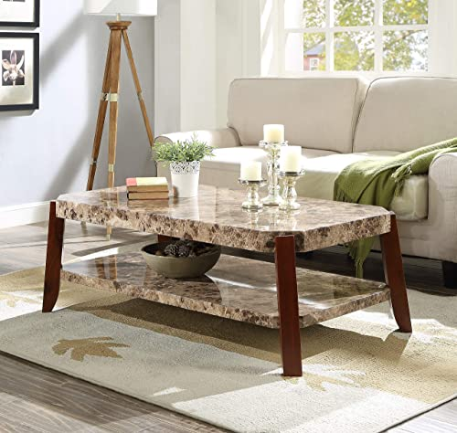 ACME Furniture Dacia Coffee Table, Faux Marble Brown