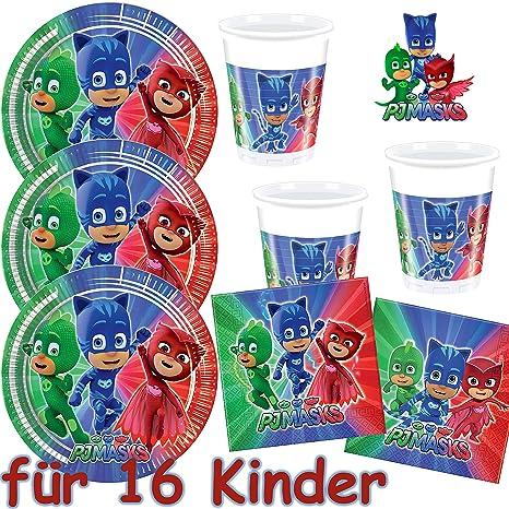 0d4112e68c 53 piezas Set de fiesta   PJ Máscaras de   con 16 platos + 16 vasos ...