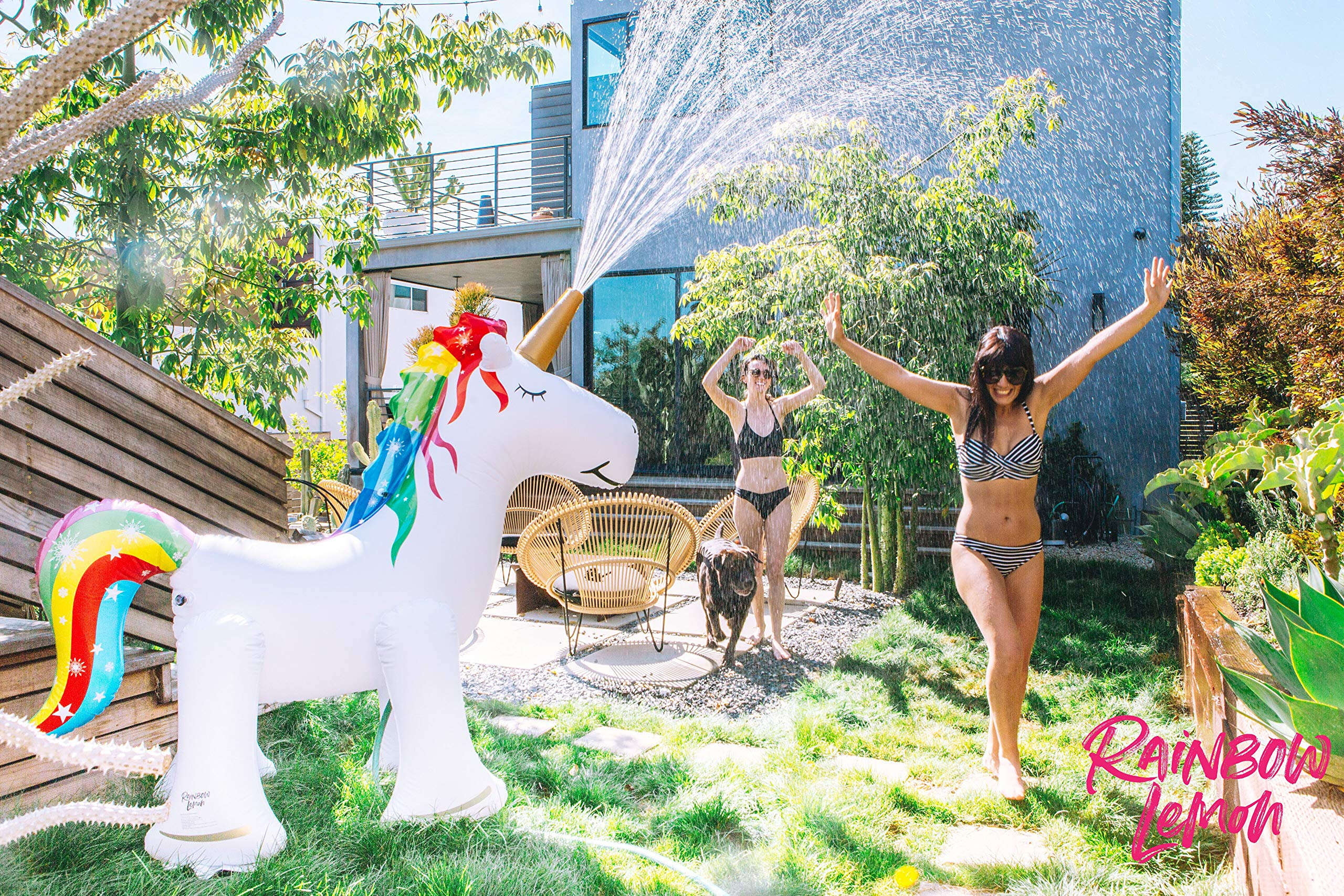 Rainbow Lemon Giant Inflatable Unicorn Sprinkler 4