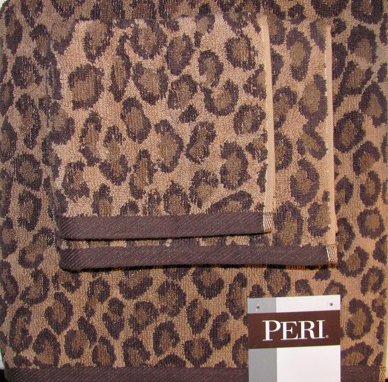 Peri bathroom accessories - Amazon Com Peri Luxury Towel Set Of 3 Pieces Wash Cloth Hand Towel And Bath Towel Leopard Brown Tan Home Kitchen