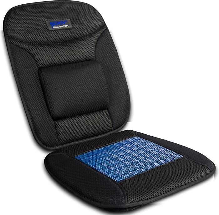 Sojoy iGelComfort Coccyx Orthopedic Breathable Gel Luxury Support Non-Slip Seat Cushion (Black) (39x20x4)