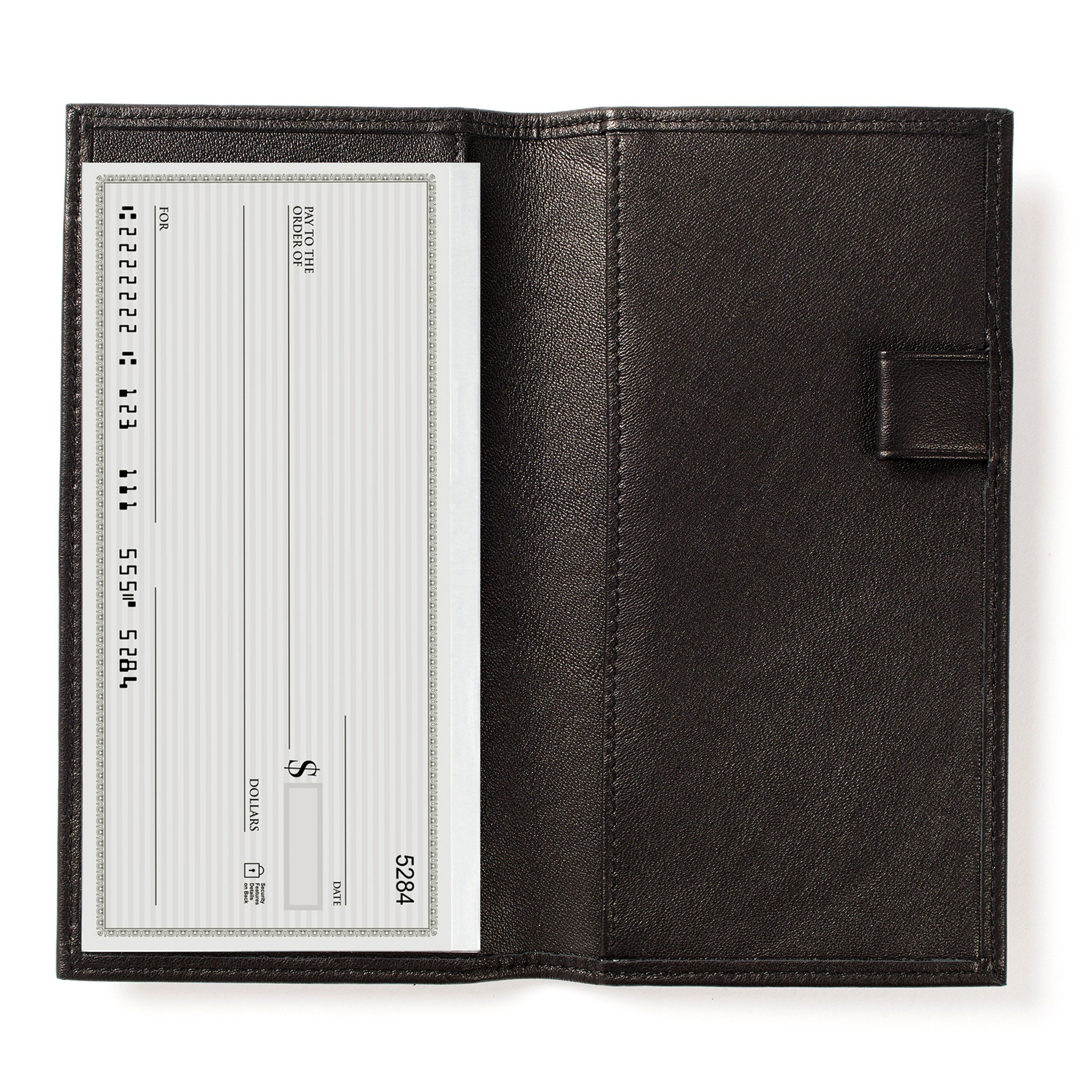 Deluxe Checkbook Cover with Divider - Full Grain Leather - Black Onyx (black)