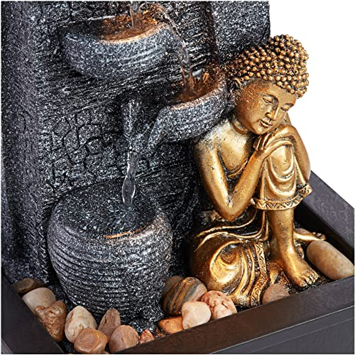 John Timberland Kneeling Buddha Asian Zen Indoor Table-Top Water Fountain with Light LED 17 High Cascading for Table Desk Home Office Bedroom Relaxation