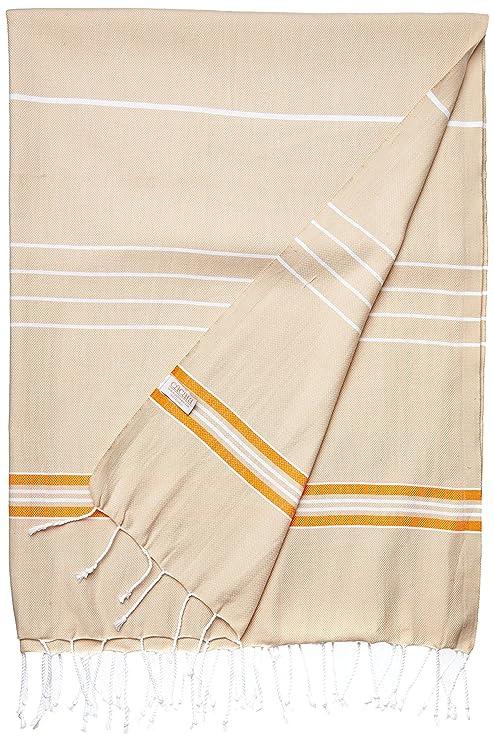 Cacala Toalla de baño Turco, Modelo Paradise, algodón, Beige Naranja, 95 x
