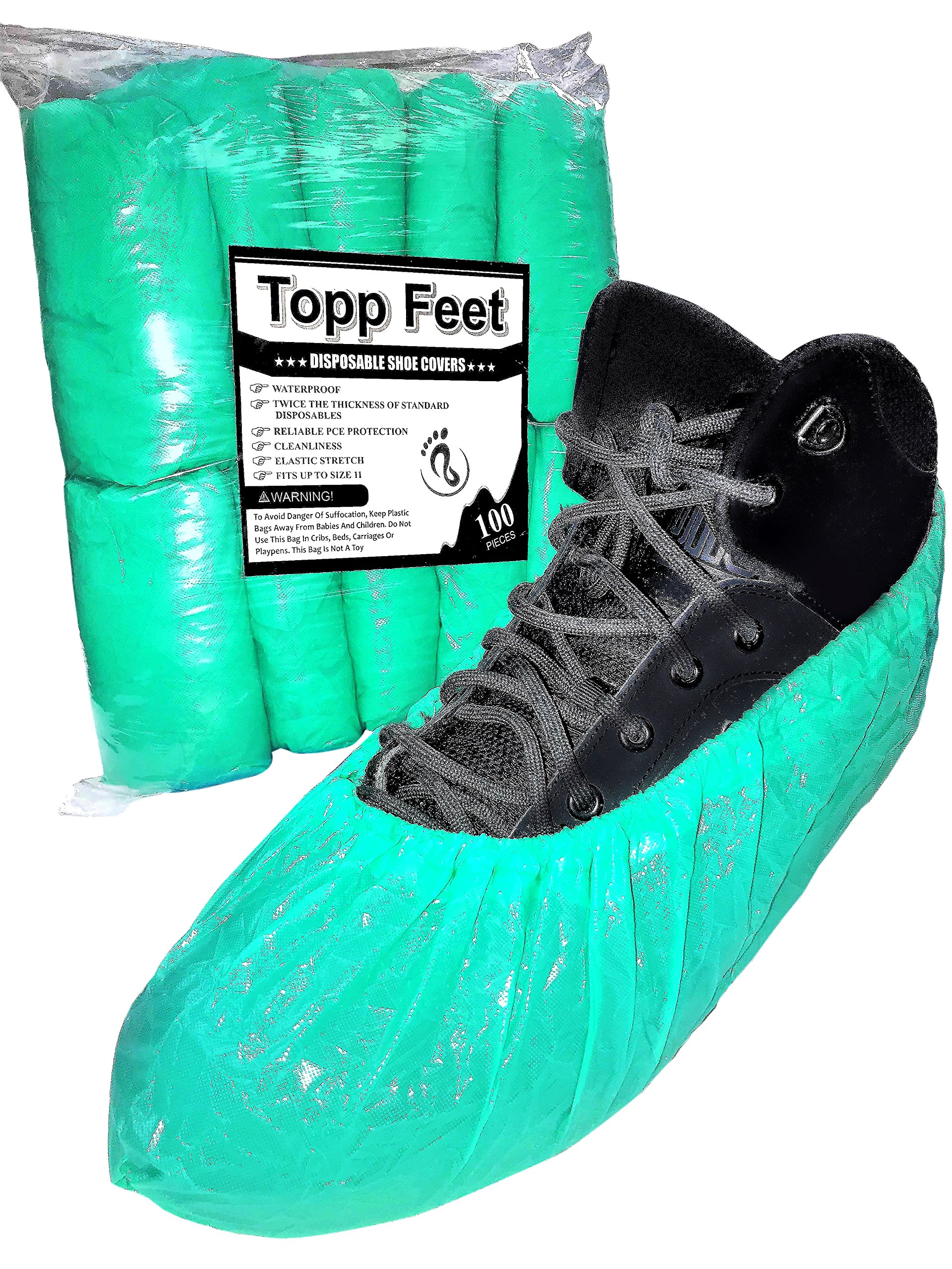 Disposable Shoe Covers By Topp Feet: Extra Thick Waterproof CPE Slip-On To Protect Feet, Shoes And Boots From Rain, Snow And Mud, Non-Slip One Size Fits All With Hand Sewn Elastic Stretch, Pack Of 100