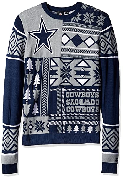 new product 245fc c511b Dallas Cowboys Patches Ugly Crew Neck Sweater Double Extra Large