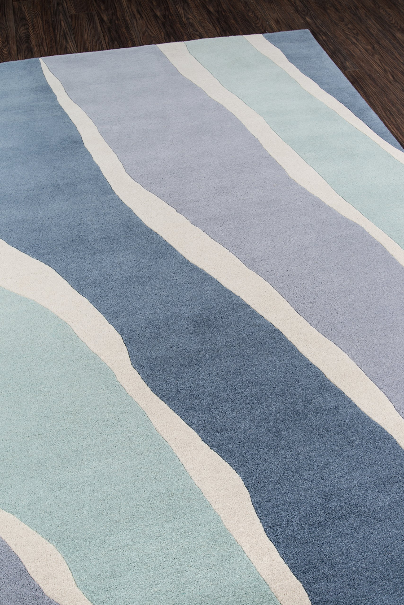 """Novogratz Delmar Collection Sorbet Area Rug, 8'0"""" x 10'0"""", Blue - CHIC DESIGN: The graphic look of this modern area rug adds contemporary flair to floors throughout the home. UNPARALLELED STYLE: Captured in a spectrum of vivid shades, polka dots, chevron stripes, and triangulated patterns and checkerboard prints. EXPERT CRAFTSMANSHIP: Hand tufted from natural wool fibers for added depth and detail. - living-room-soft-furnishings, living-room, area-rugs - A1f4Omu4vjL -"""