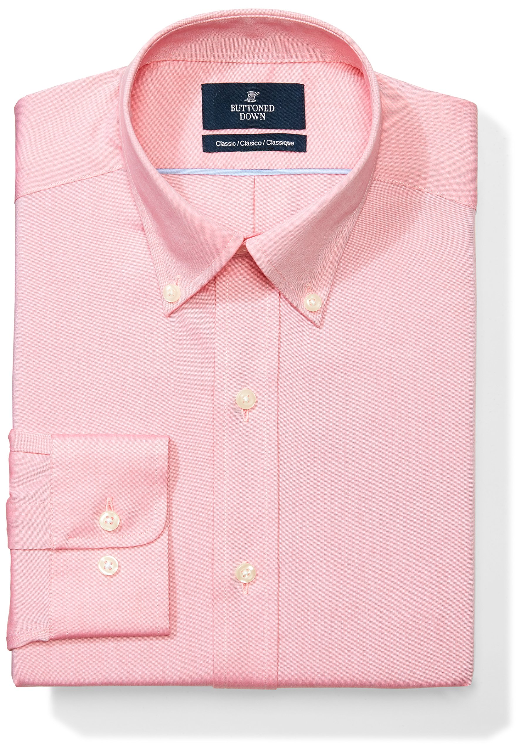 Buttoned Down Men's Classic Fit Button-Collar Solid Non-Iron Dress Shirt (No Pocket), Pink, 15.5'' Neck 32'' Sleeve