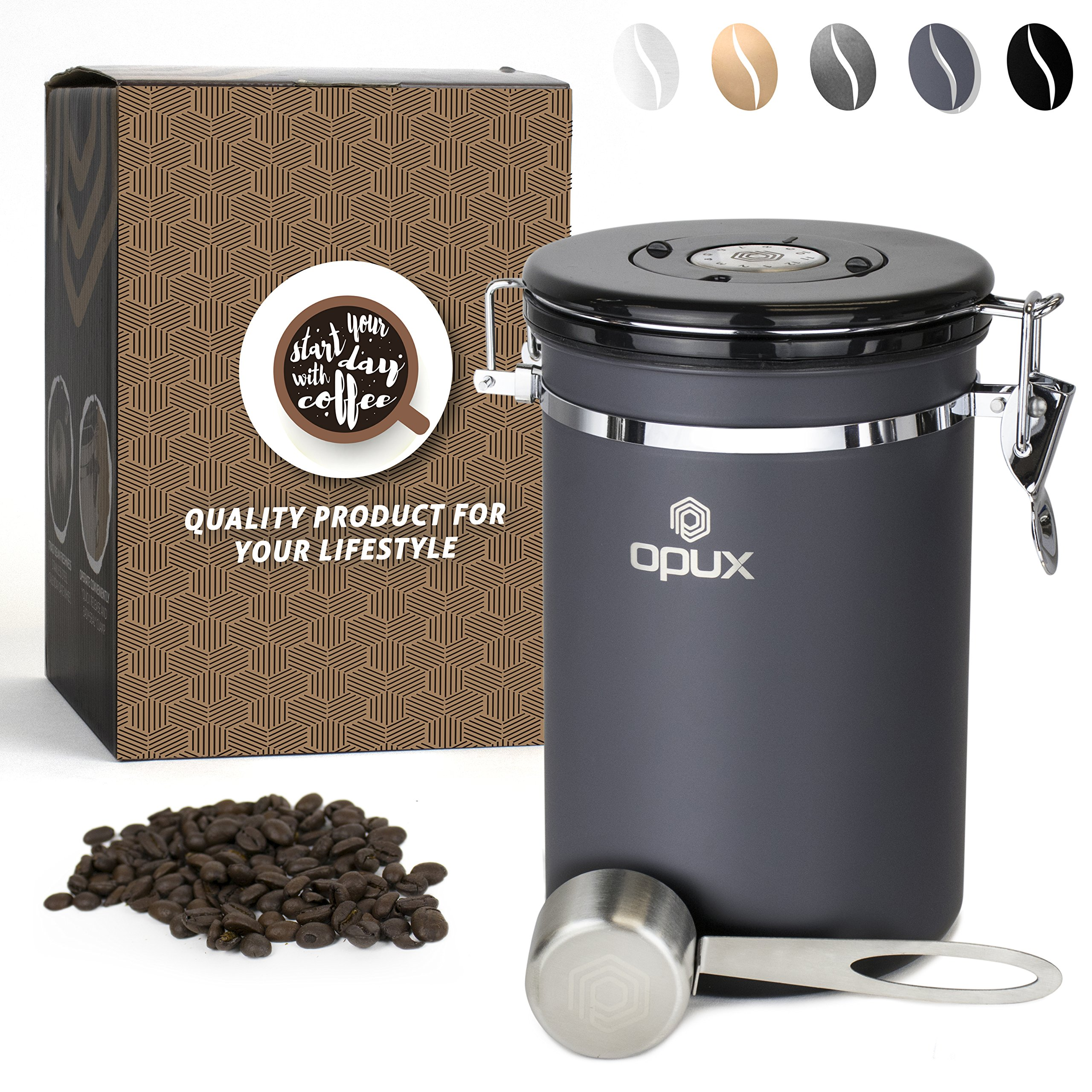 OPUX Coffee Canister | Coffee Jar, Airtight Coffee Bean Container with Vacuum Seal | Stainless Steel Coffee Ground Vault Jar with One Way CO2 Release and Scoop (Large 21 oz Matte Grey)