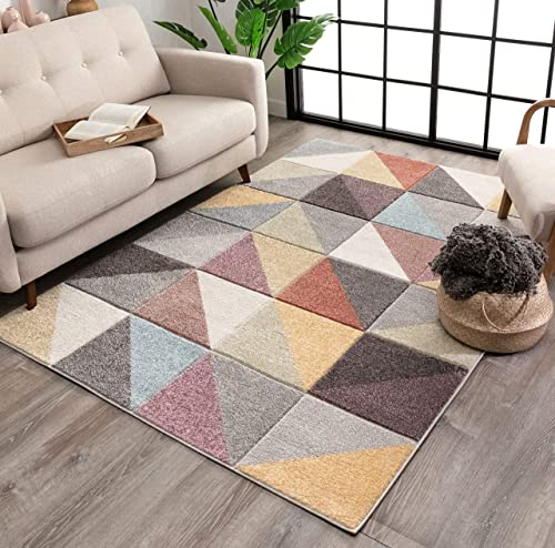 Well Woven Plano Soft Pastel Multi Color Triangle Boxes Squares Geometric Area Rug 8×10 7'10″ x 9'10″