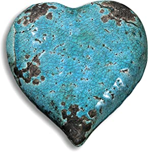 Beach Chic Distressed Blue Turquoise Heart, Crackled and Worn Blue Glazed Over Terracotta, 5 7/8 Inches Diameter, (15 cm.)