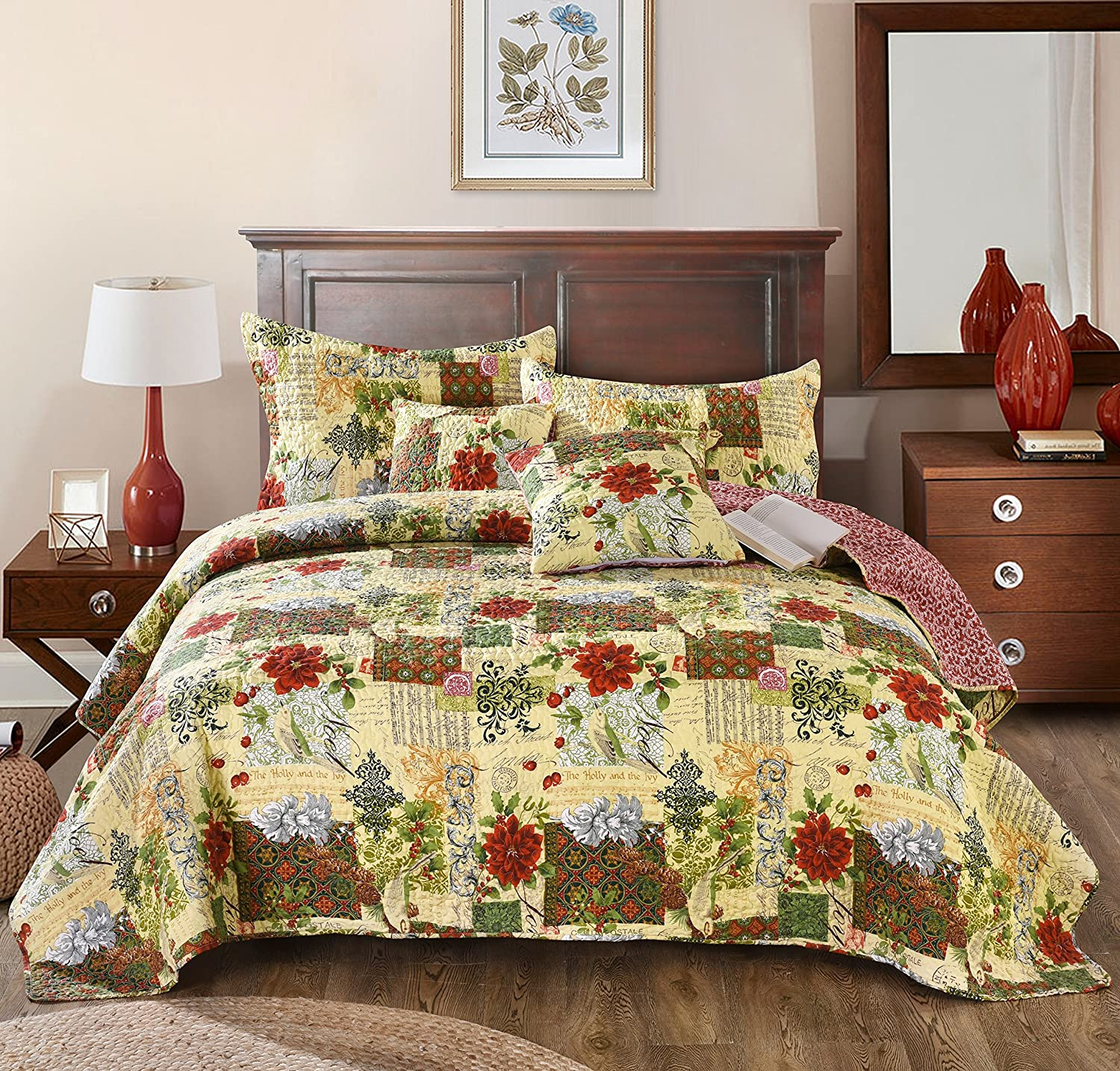 Tache Home Fashion Festive The Holly and The Ivy Poinsettia Patchwork Quilted Coverlet Bedspread Set - Bright Vibrant Multi Colorful Beige Red Green Floral