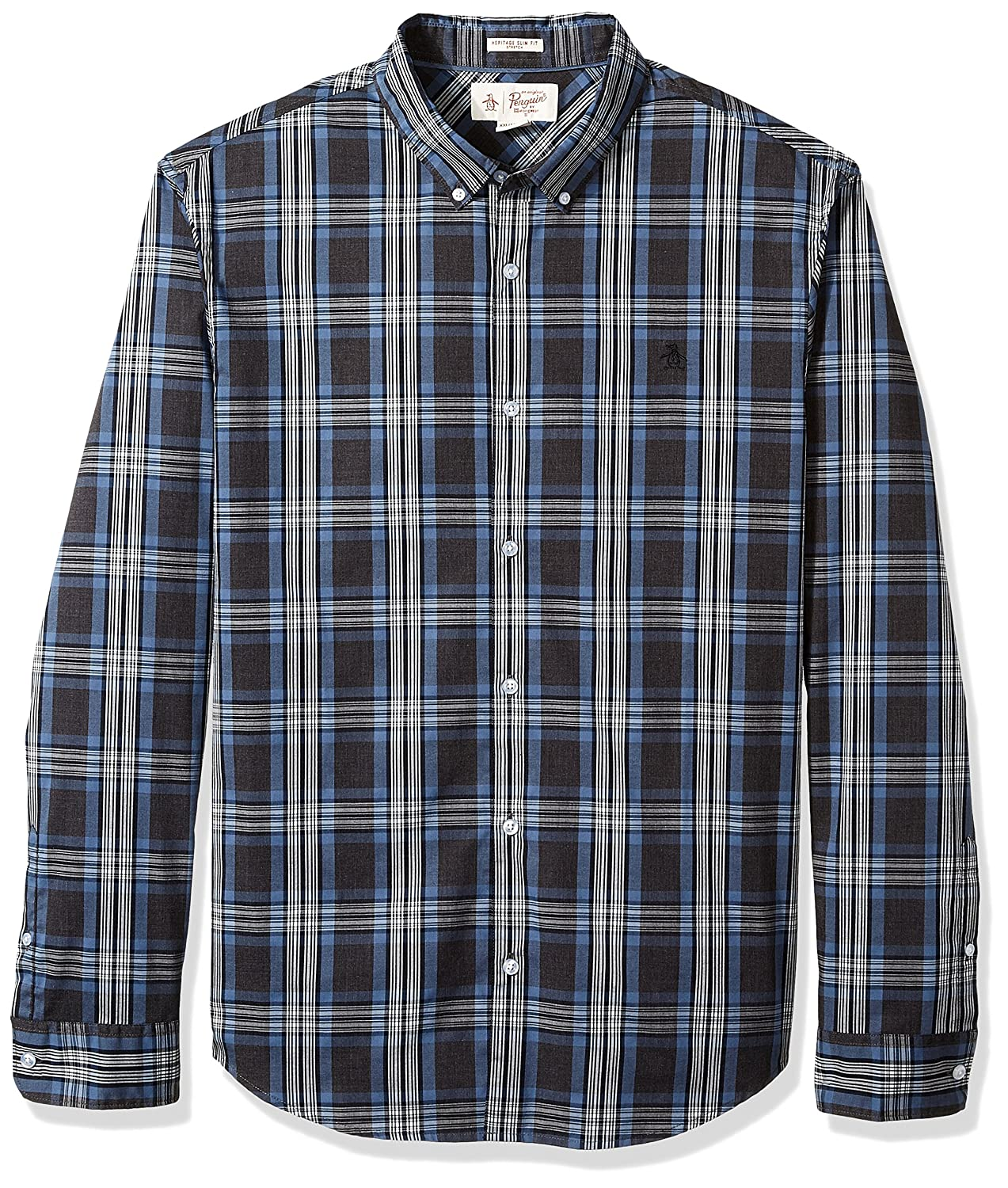 f6f14c9fee4 Original Penguin Men's Long Sleeve Heathered Plaid Shirt OPWH7C07