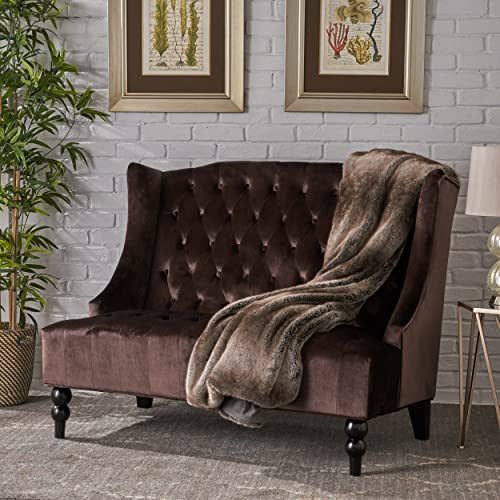 Leah Modern Glam Tufted Velvet Wingback Loveseat