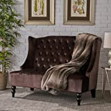 Leah Traditional Tufted Winged Chocolate Velvet Loveseat