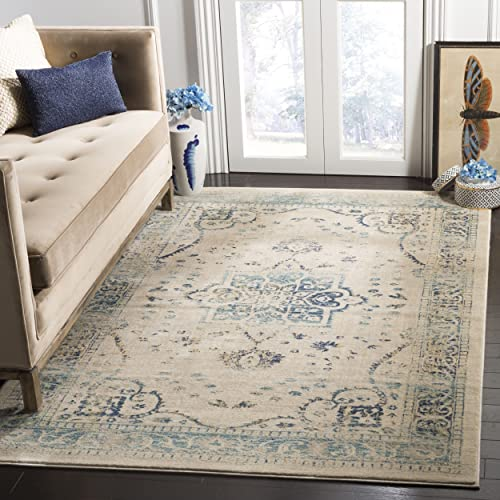 Safavieh Evoke Collection EVK509F Vintage Distressed Oriental Beige and Turquoise Area Rug 5'1″ x 7'6″