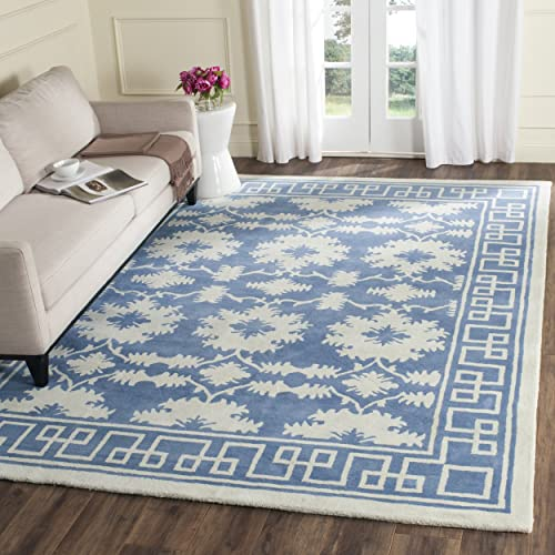 Safavieh Bella Collection BEL132A Handmade Blue and Ivory Premium Wool Area Rug 6 x 9
