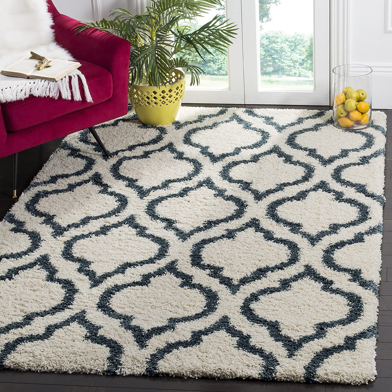 Safavieh Hudson Shag Collection SGH284T Moroccan Geometric 2-inch Thick Area Rug, 9' x 12', Ivory/Slate Blue