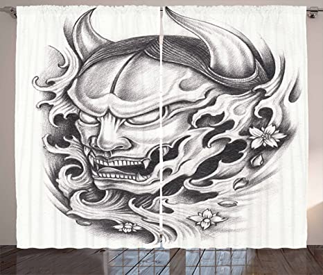 Kabuki máscara decoración cortinas por Ambesonne, dibujado a mano ...