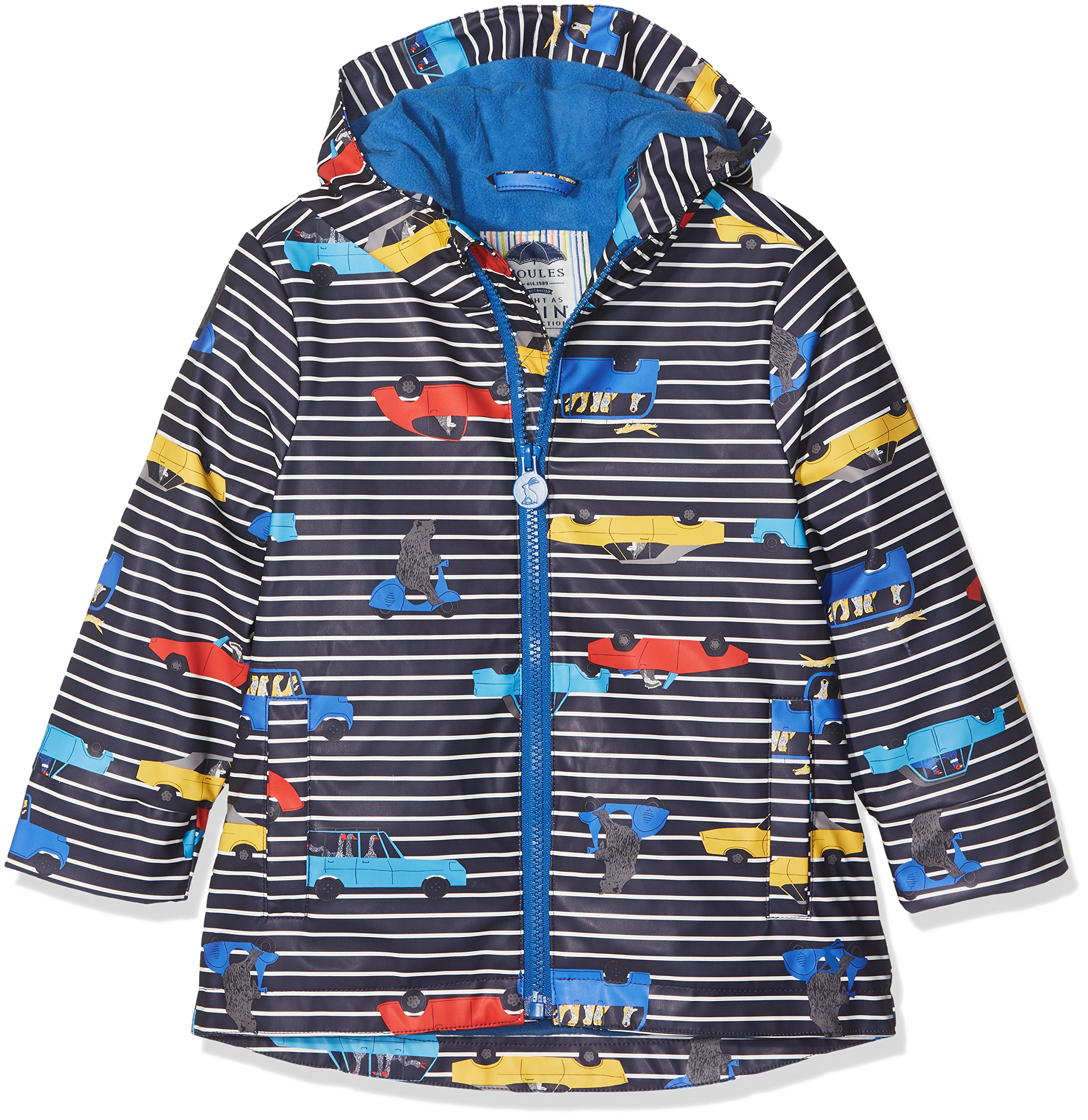 Joules Little Boys' Skipper Rubber Rain Coat, Navy Stripe Cars 6