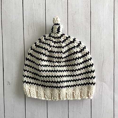 Black and White Striped Baby Hat 0 to 3 Months