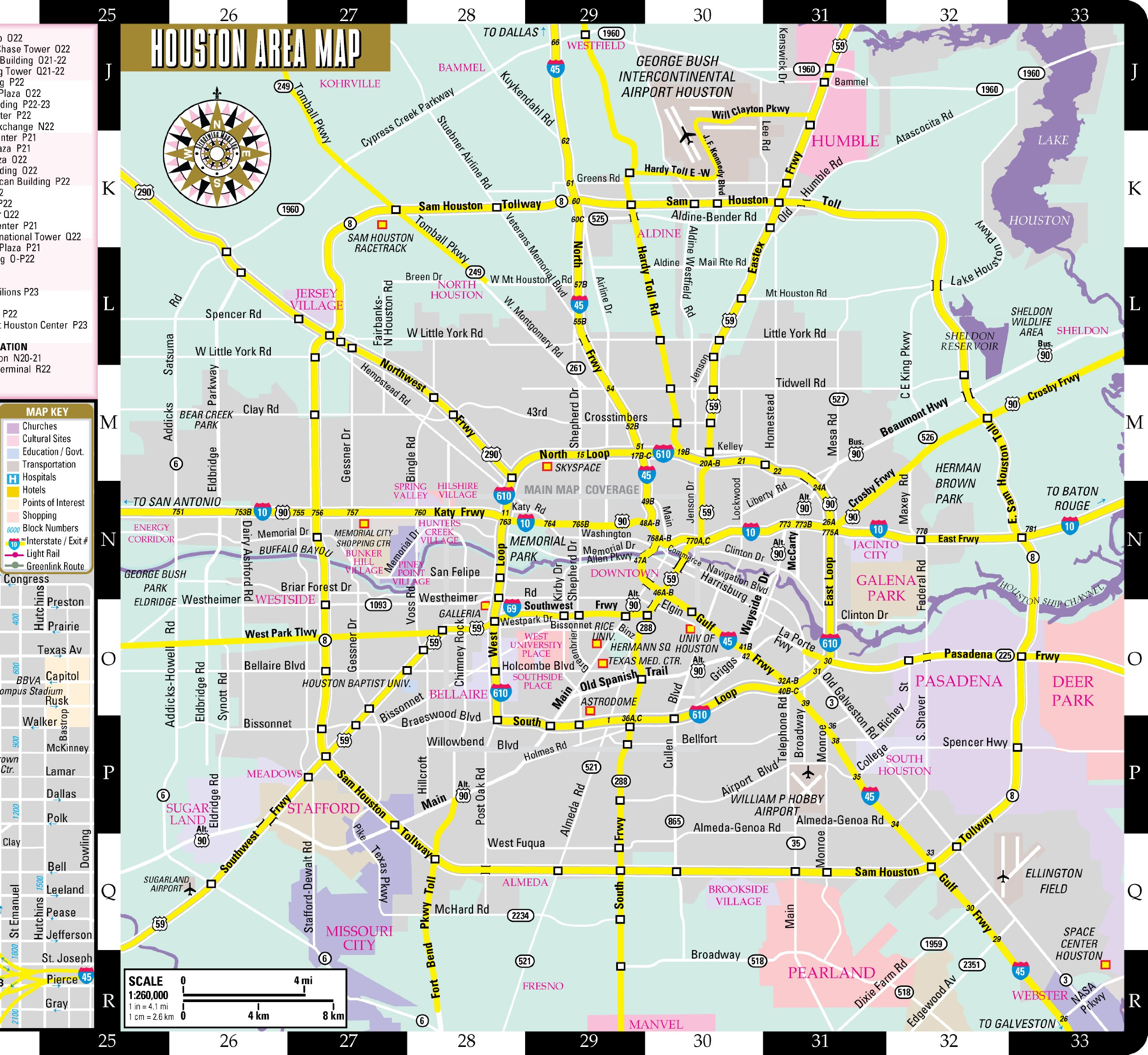 Streetwise Houston Map Laminated City Center Street Map Of - Map of houston hotels downtown