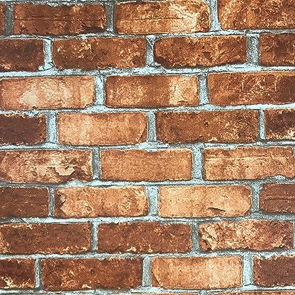 Slavyanski Vinyl Wallpaper Red Orange Rustic Coverings Textured Old Vintage Retro Faux Stone Brick Pattern Double