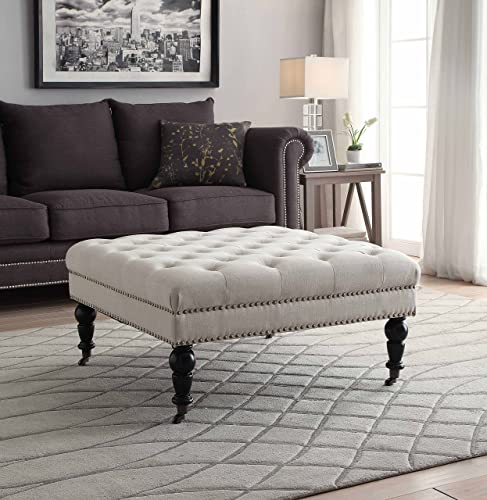 Linon Isabelle Square Wood Upholstered Ottoman - the best ottoman chair for the money