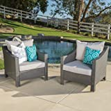Christopher Knight Home Antibes Outdoor Wicker Club Chairs with Water Resistant Fabric Cushions, 2-Pcs Set, Grey / Silver