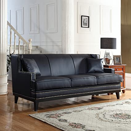 Divano Roma Furniture Modern Bonded Leather Sofa With Nailhead Trim Detail ( Black)