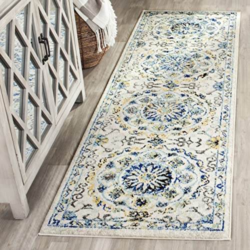 Safavieh Evoke Collection EVK252C Ivory and Blue Runner 2 2 x 7