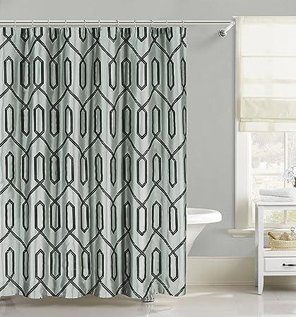 Royal Bath Dex Flocking Faux Silk Shower Curtain Spa Blue Black