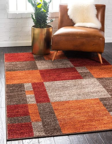 Unique Loom Autumn Collection Checkered Abstract Casual Warm Toned Multi Area Rug 8 0 x 10 0