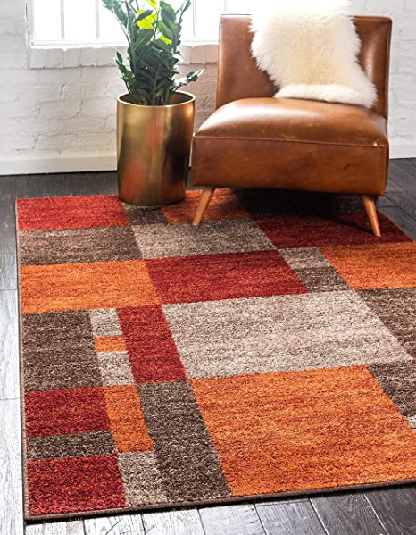 Unique Loom Autumn Collection Checkered Abstract Casual Warm Toned Multi Area Rug 5 0 X 8 0 Furniture Decor