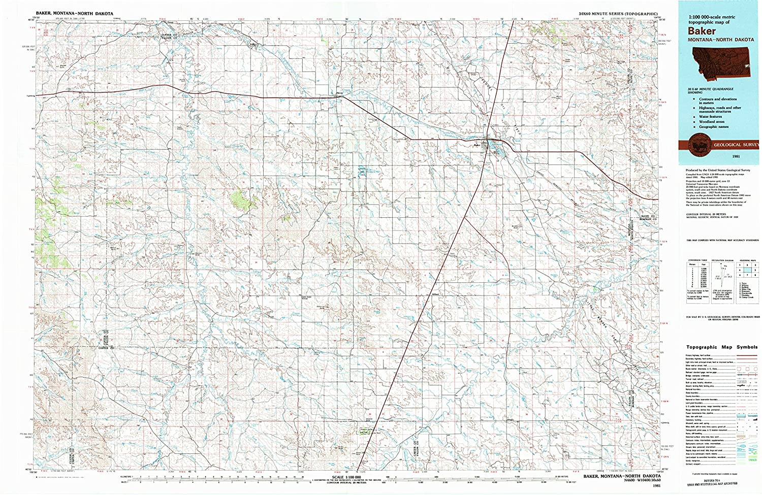 Amazon Com Yellowmaps Baker Mt Topo Map 1 100000 Scale 30 X 60